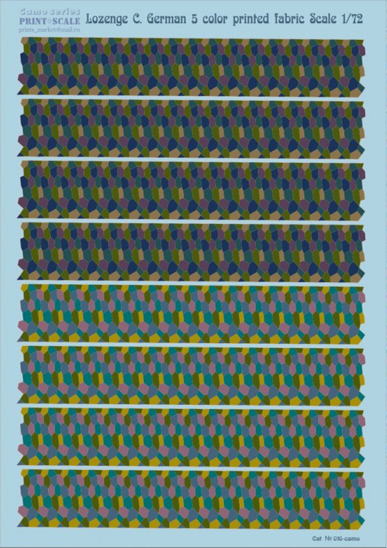 Print Scale 1/72 Lozenge C. German 5 color printed fabric / 016 /