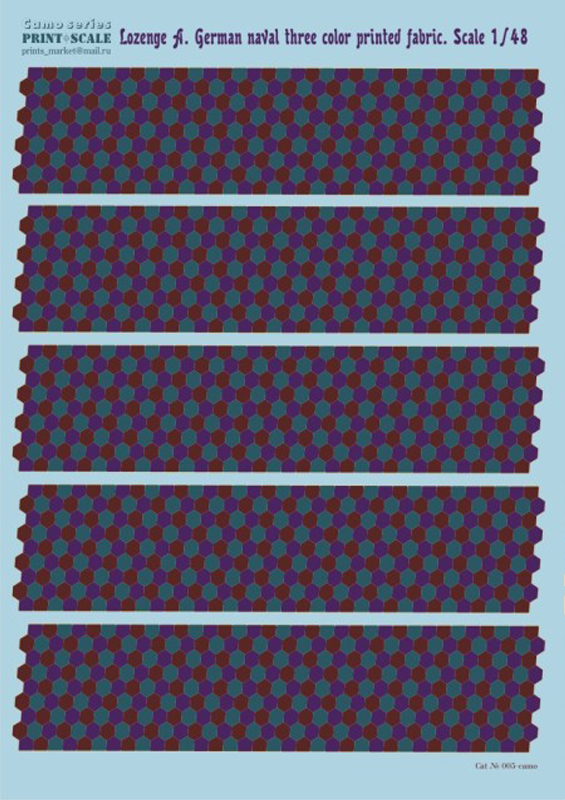Print Scale 1/48 Lozenge A. German naval three color printed fabric / 005-1 /