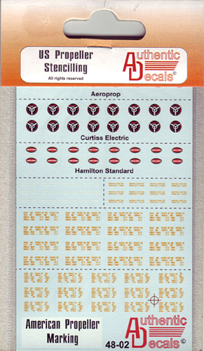Authentic Decals 1/48 US Propeller Stencilling # 48-02
