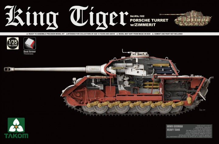 Takom 1/35 King Tiger Sd.Kfz.182 PORSCHE TURRET w/ZIMMERIT # 2046