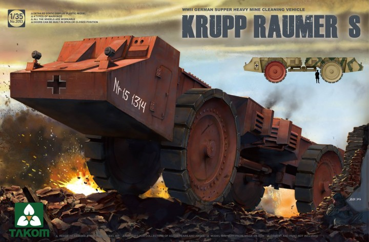 Takom 1/35 Krupp Raumer S WWII German Super Heavy Mine Clearing Vehicle # 2053