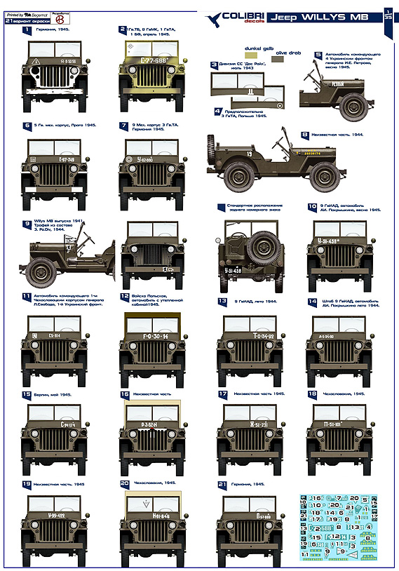 Willys MB - Red Army 1/35 Colibri Decals # 35001