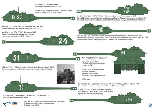 Is-2 Late version 1/35 Colibri Decals # 35006