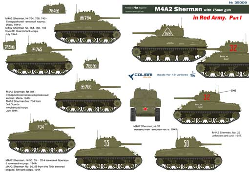 M4A2 Sherman in Red Army  Part I 1/35 Colibri Decals # 35009