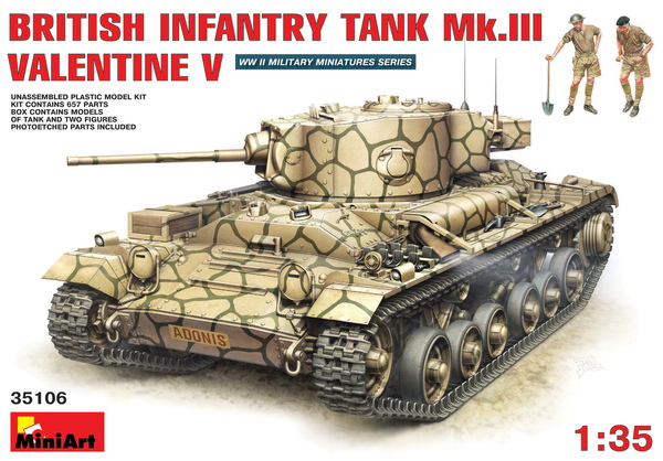 MiniArt 1/35 British Infantry Tank Mk.III Valentine V with Crew # 35106