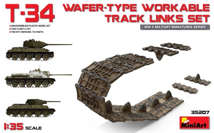MiniArt 1/35 T-34 wafer-type workable track links set # 35207
