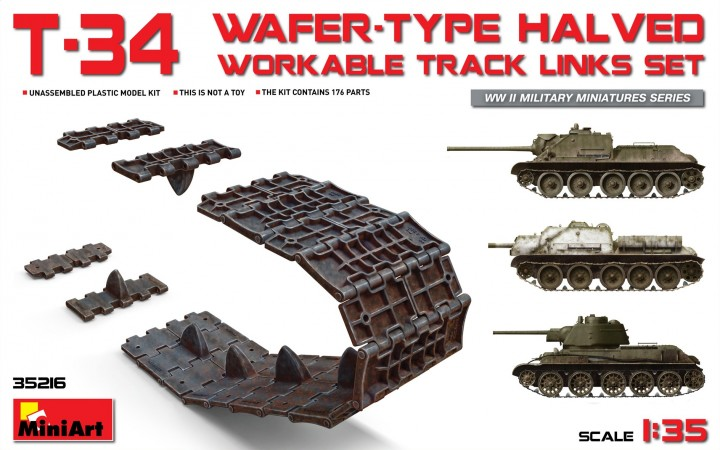 MiniArt 1/35 T-34 Wafer-Type Halved Workable Track Links Set # 35216