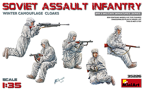 MiniArt 1/35 SOVIET ASSAULT INFANTRY (WINTER CAMOUFLAGE CLOAKS) # 35226