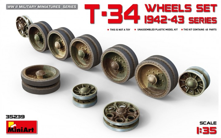 MiniArt 1/35 T-34 Wheels set 1942-43 series # 35239