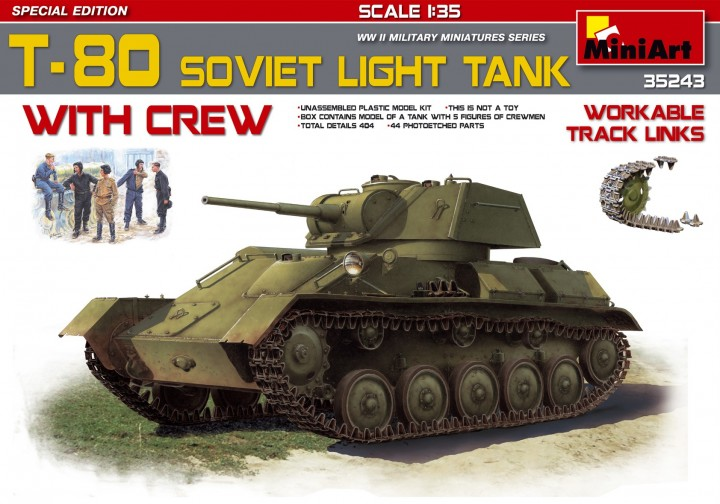 MINIART 1/35 T-80 Soviet Light Tank w/crew # 35243