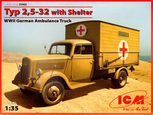 ICM 1/35 Typ 2,5-32 with Shelter WWII German Ambulance Truck # 35402
