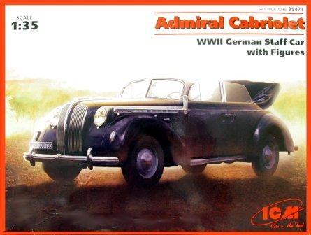 ICM 1/35 Admiral Cabriolet WWII German Staff Car with Figures # 35471