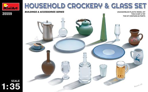 MiniArt 1/35 HOUSEHOLD CROCKERY & GLASS SET # 35559