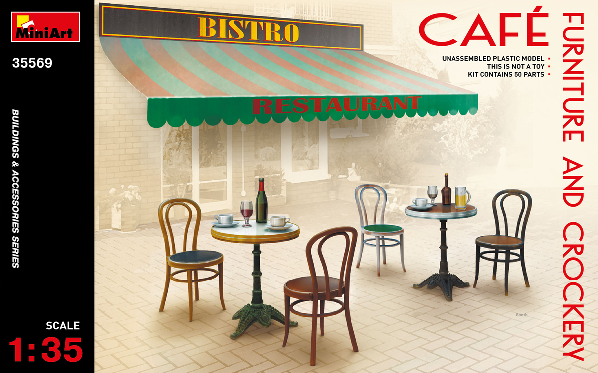 MiniArt 1/35 CAFé FURNITURE & CROCKERY # 35569