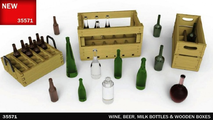 MINIART 1/35 Wine, Beer, Milk Bottles & Wooden Boxes # 35571