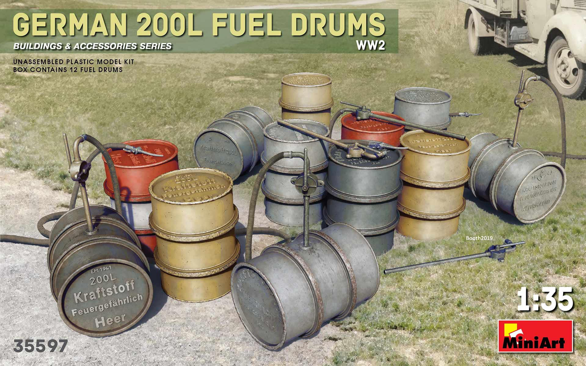 MiniArt 1/35 GERMAN 200L FUEL DRUMS WW2 # 35597