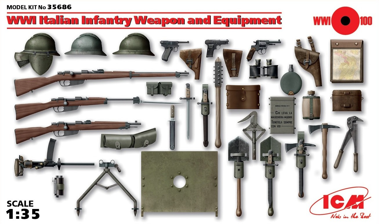 ICM 1/35 Italian Infantry Weapon and Equipment # 35686