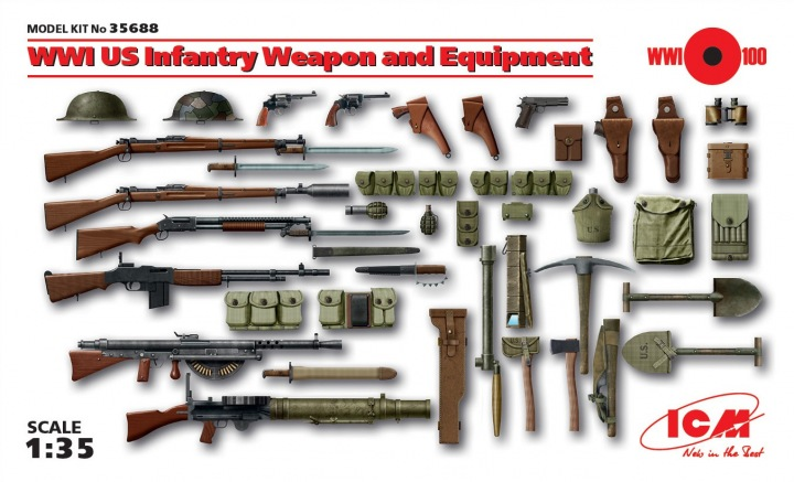 ICM 1/35 WWI US Infantry Weapon and Equipment # 35688