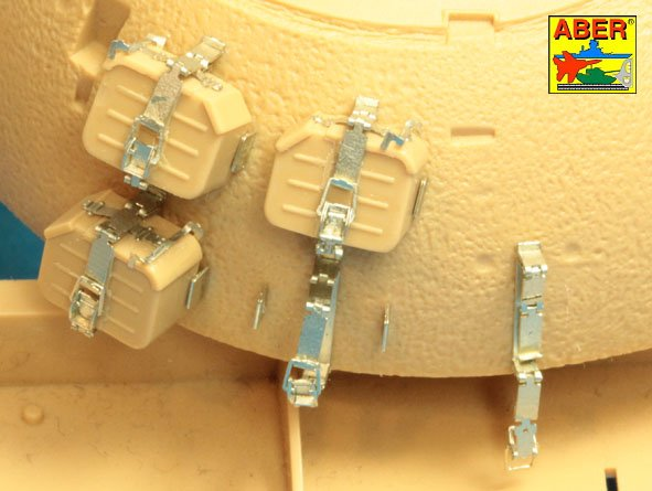 Aber 1/35 Mounts for additional ammunition boxes used on Soviet tanka like: T-54; T-55 or T-62 # 35A129
