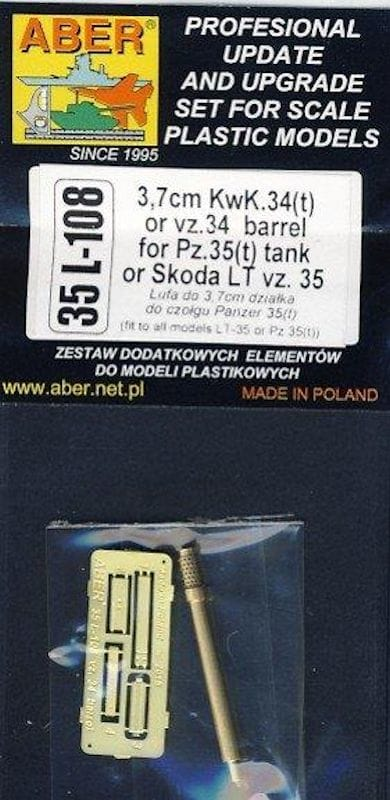 Aber 1/35 3,7cm KwK.34(t) or vz.34 barrel for Pz.35(t) tank # 35L108
