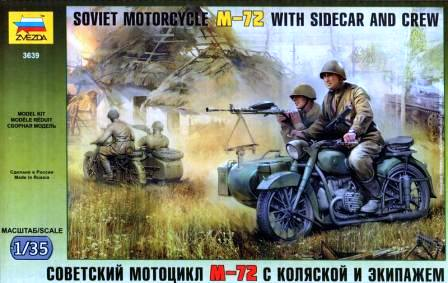 Zvezda 1/35 Soviet Motorcycle M-72 with Sidecar and Crew # 3639