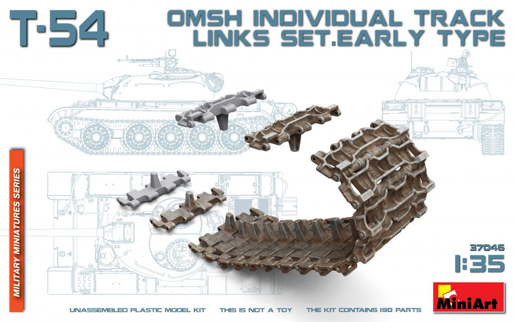 MiniArt 1/35 T-54 OMSH INDIVIDUAL TRACK LINKS SET.EARLY TYPE # 37046