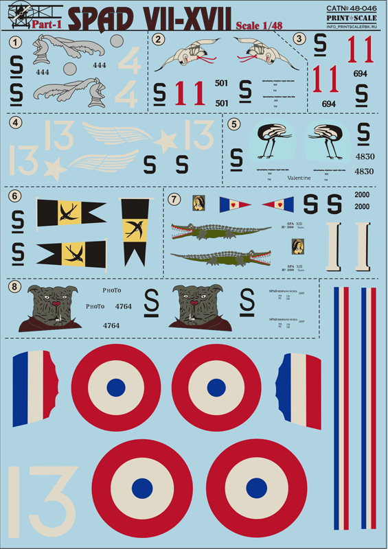 Print Scale 1/48 Spad Vll-XVll Part-1 / 48-046 /