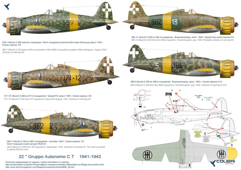 ltalian fighters in the sky of the USSR (MC. 200/ MC. 202)  1/48 Colibri Decals # 48007