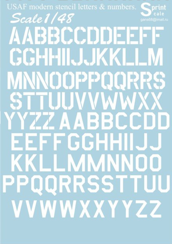 Print Scale 1/48 USAF modern stencil letters & numbers. White / 48-003 /