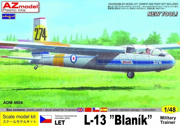 AZ MODEL 1/48 LET L-13 Blanik Military # 4804