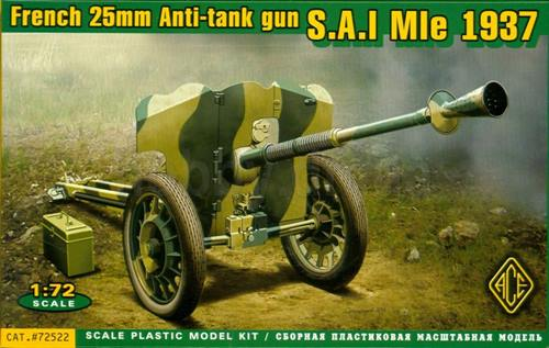 AGE 1/72 S.A.I Mle 1937 French 25mm anti-tank gun # 72522