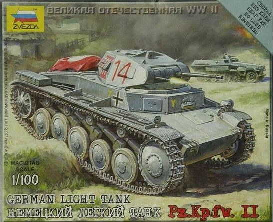 Zvezda 1/100 German light tank Pz.Kpfw. II # 6102
