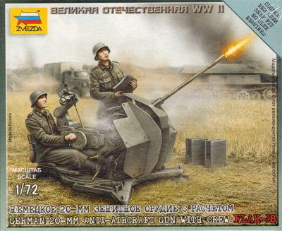 Zvezda 1/72 German 20-mm Anti-Aircraft Gun with Crew Flak-38 # 6117