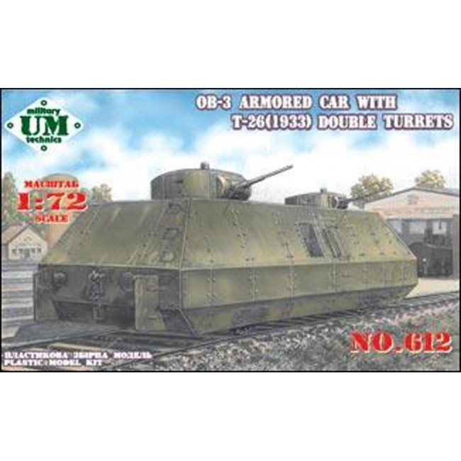 UMT 1/72 OB-3 armored railway car with two T-26 turrets # 612