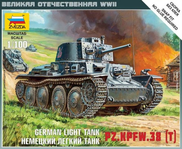 Zvezda 1/100 German light tank Pz.Kpfw. 38(t) # 6130