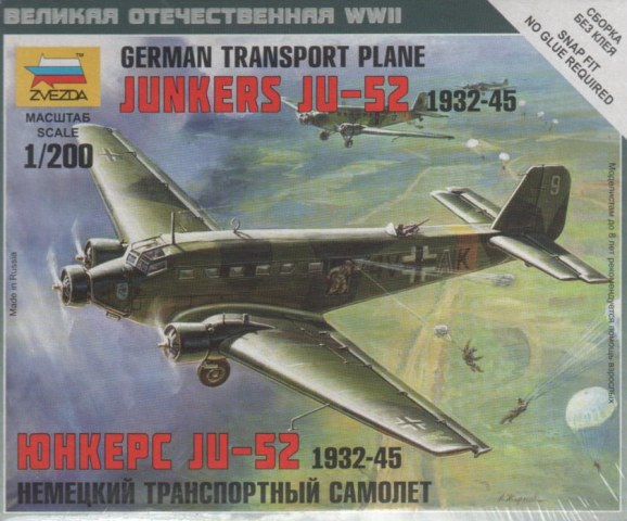 Zvezda 1/200 Junkers Ju 52/3m German Transport Plane # 6139