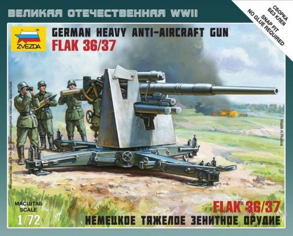 Zvezda 1/72 German Heavy Anti-Aircraft Gun FlaK 36/37 # 6158