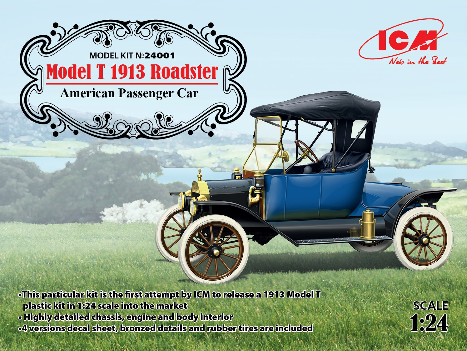 ICM 1/24 Model T 1913 Roadster, American Passenger Car # 24001