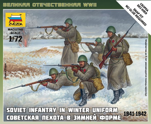Zvezda 1/72 Soviet Infantry in Winter Uniform 1941-1942 # 6197