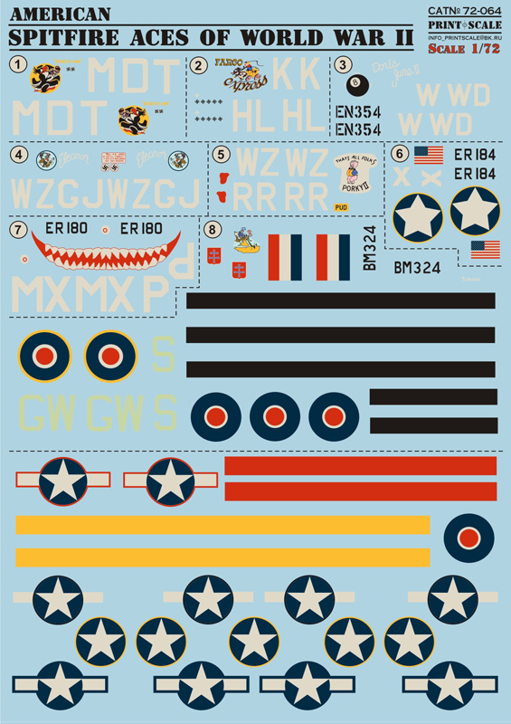 Print Scale 1/72 American Spitfire # 72-064
