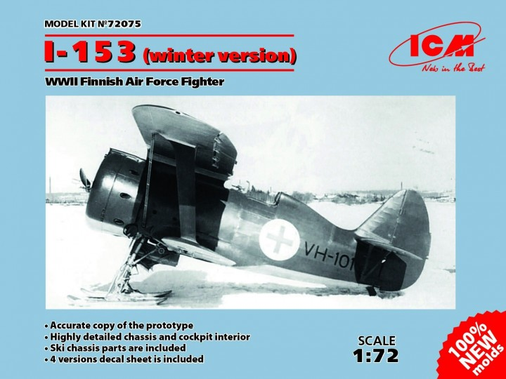 ICM 1/72 Polikarpov I-153 (winter version) WWII Finnish Air Force Fighter # 72075