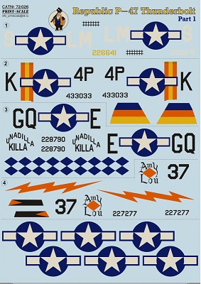 Print Scale 1/72 Republic P-47 Thunderbolt Part 1 / 72-026 /