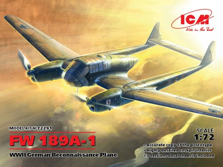 ICM 1/72 FW 189A-1 WWII German Reconnaisscance Plane # 72291