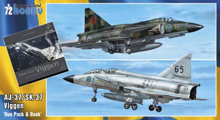 Special Hobby 1/72 SAAB 37 Viggen Duo Pack & Book # 72411