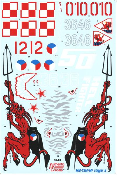 Authentic Decals 1/32 MiG-23 M/MF Flogger B # 32-01