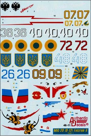 Authentic Decals 1/48 MiG-29 Fulcrum A (9-12) # 48-11