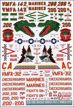 Authentic Decals 1/48 Modern US MARINE corps. F-18 Hornet, VMFA-142, VMFA-312 # 48-23