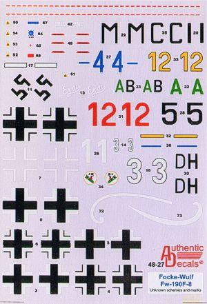 Authentic Decals 1/48 Focke-Wulf FW-190F-8 Unknown schemes and markings # 48-27