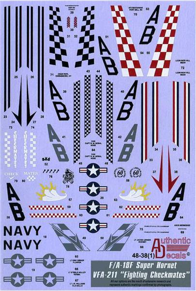 "Authentic Decals 1/48 Modern US NAVY F/A-18F Super Hornet VFA-211 ""Fighting Checkmates"" # 48-38"