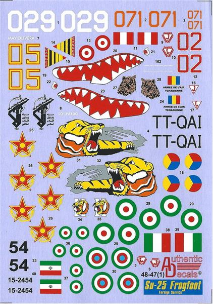 Authentic Decals 1/48 Su-25 Frogfoot Foreign Service # 48-47
